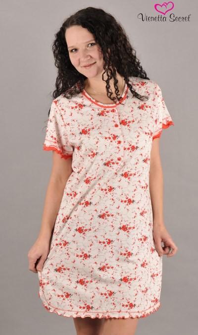Dámská noční košile Vienetta Secret Kytka knoflík - výprodej