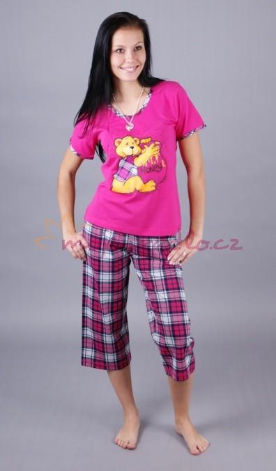 Dámské pyžamo Vienetta Secret capri - Medvídek se soudkem