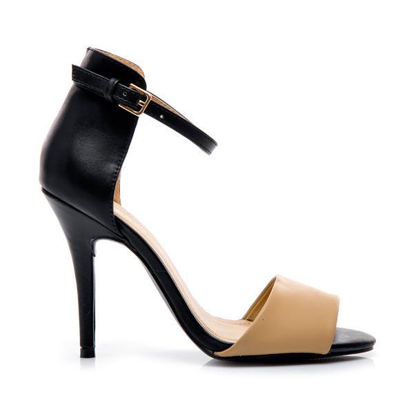 Černo-béžové stylové sandály
