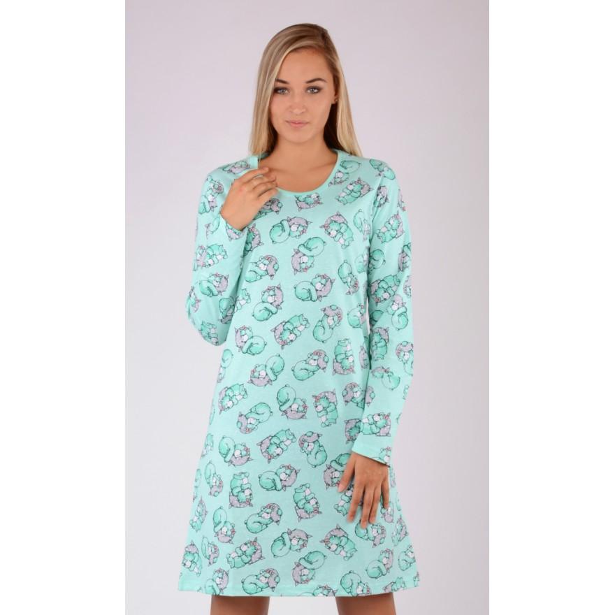 Dámská azurová noční košile Vienetta Secret Méďa Ospalec