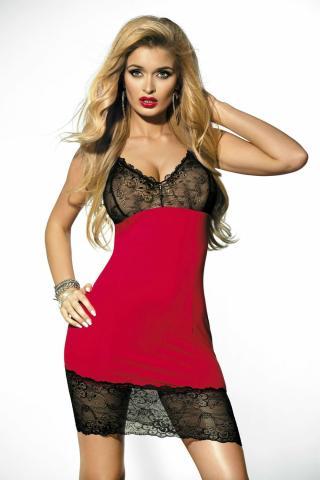 Dámská erotická košilka DKaren Irmina červeno černá