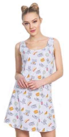 Dámská noční košile na ramínka Vienetta Secret Mlsná kočka