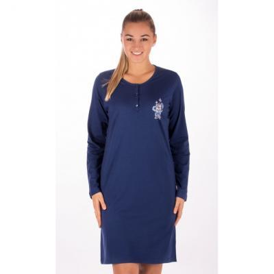 Dámská noční košile s dlouhým rukávem Vienetta Secret Julie Modrá