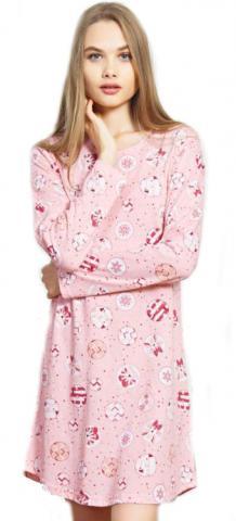 Dámská noční košile s dlouhým rukávem Vienetta Secret Kočky