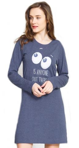 Dámská noční košile s dlouhým rukávem Vienetta Secret Oči nodrá