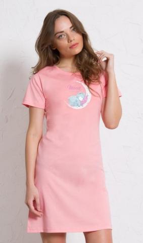 Dámská noční košile s krátkým rukávem Vienetta Secret Méďa na měsíci
