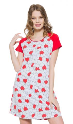 Dámská noční košile s krátkým rukávem Vienetta Secret Srdíčka