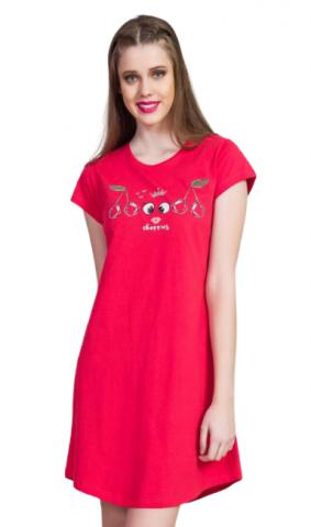 Dámská noční košile s krátkým rukávem Vienetta Secret Třešně