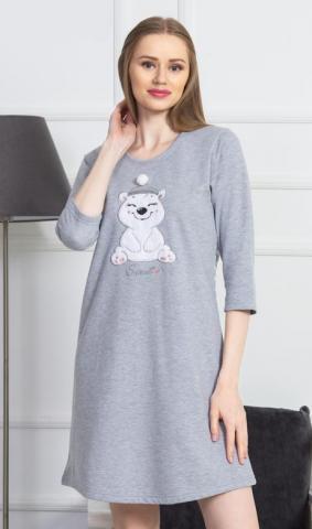 Dámská noční košile s tříčtvrtečním rukávem Vientta Secret Méďa s čepicí