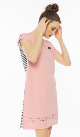 Dámská noční košile Vienetta Secret Kočka růžová