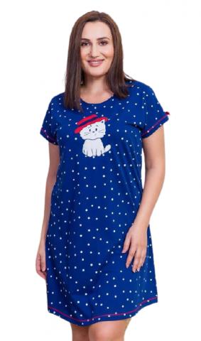 Dámská noční košile Vienetta Secret Kočka s kloboukem nadměr
