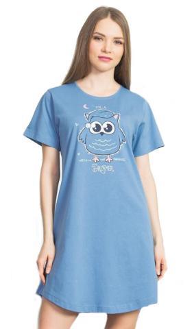 Dámská noční košile Vienetta Secret Sova s čepicí barvy