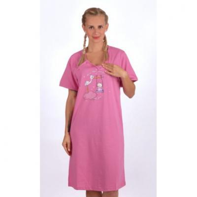 Dámská noční mateřská košile Vienetta Secret Čáp s houpačkou