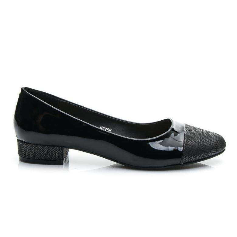 Černé lesklé dámské polobotky na nízkém podpatku