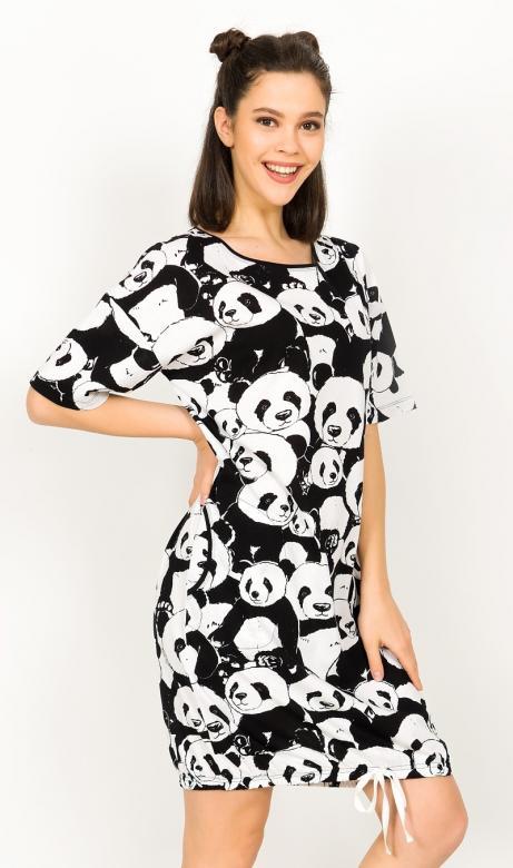 Dámské domácí šaty s krátkým rukávem Vienetta Secret Velká panda