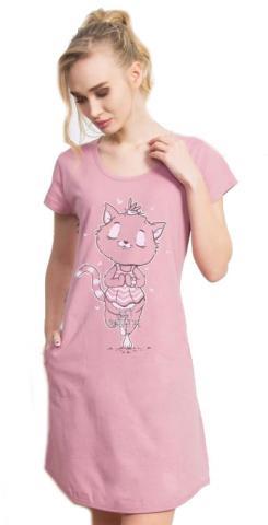 Dámské domácí šaty Vienetta Secret Kočka Jogínka