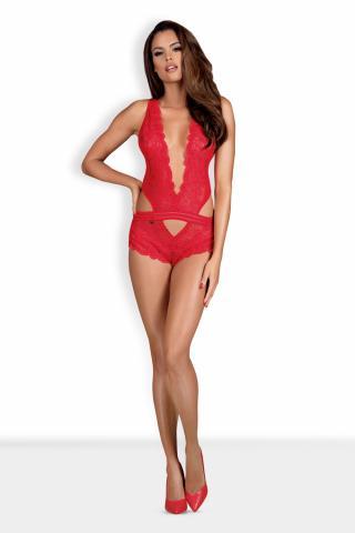 Dámské erotické body Obsessive 853-TED červené