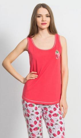 Dámské kapri pyžamo Vienetta Secret Jahoda červená