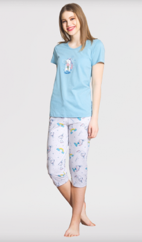 Dámské kapri pyžamo Vienetta Secret Jednorožec
