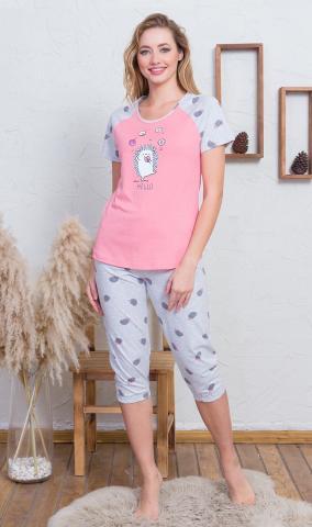 Dámské kapri pyžamo vienetta Secret Ježek s donutem