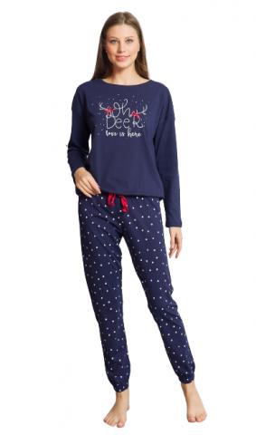 Dámské modré pyžamo Vienetta Secret Adéla