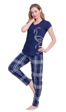 Dámské modré pyžamo Vienetta Secret Flamingo