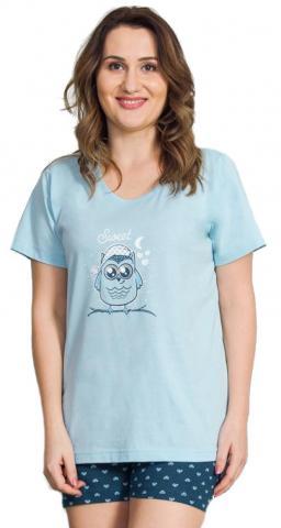 Dámské nadměrné pyžamo šortky Vienetta Secret Sova s čepicí