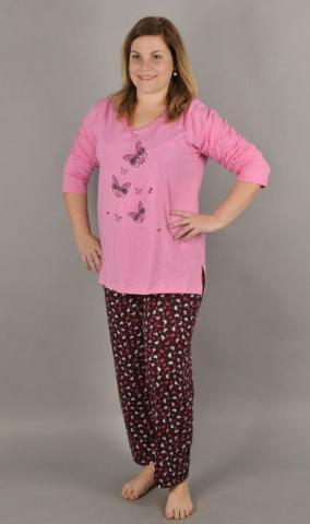 Dámské nadměrné pyžamo Vienetta Secret Motýli na louce