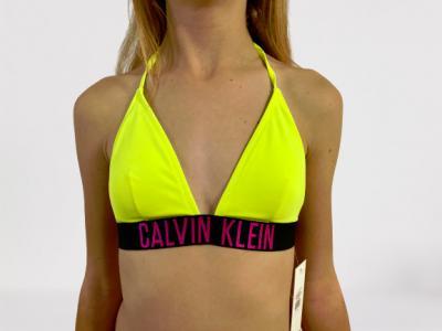 Dámské plavky Calvin Klein KW00913 FIXED TRIANGLE neon zelená
