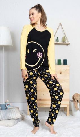 Dámské pyžamo dlouhé Vienetta Secret Big smile