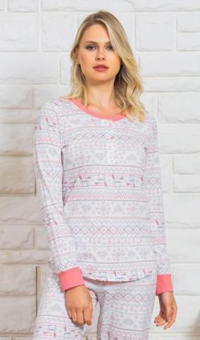 Dámské pyžamo dlouhé Vienetta Secret Lenka