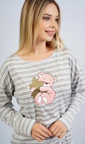 Dámské pyžamo dlouhé Vienetta Secret Méďa s hvězdou