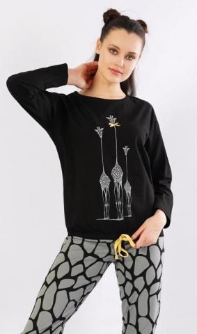 Dámské pyžamo dlouhé Vienetta Secret Tři žirafy