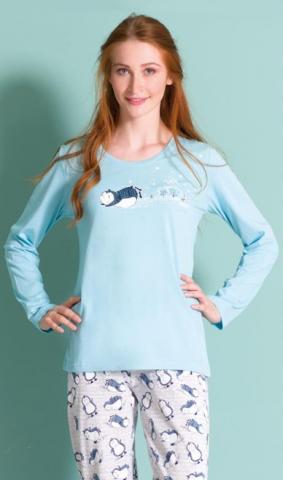 Dámské pyžamo dlouhé Vienetta Secret Tučňák na sněhu