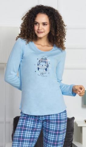Dámské pyžamo dlouhé Vienetta Secret Tučňák s čepičkou
