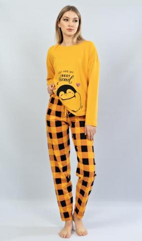Dámské teplé pyžamo dlouhé Vienetta Secret Tučňák