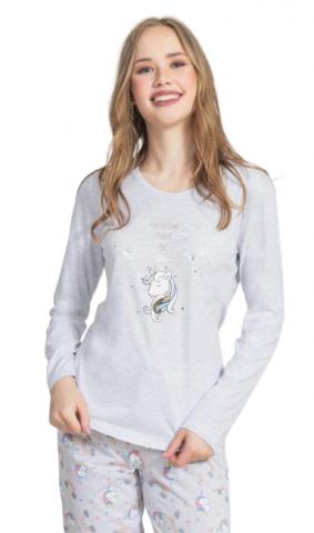 Dámské pyžamo dlouhé Vienetta Secret Jednorožci