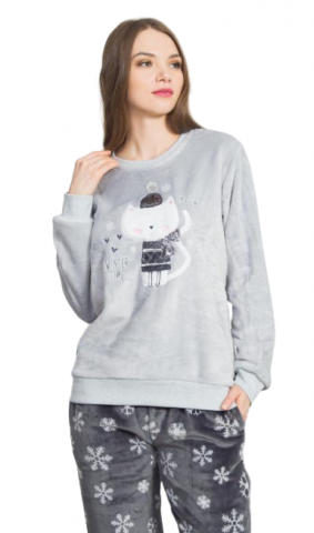 Dámské pyžamo dlouhé Vienetta Secret Kočka se šálou
