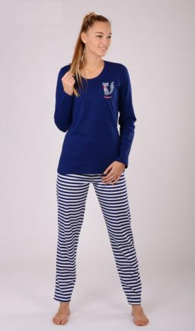 Dámské pyžamo dlouhé Vienetta Secret Mýval modré