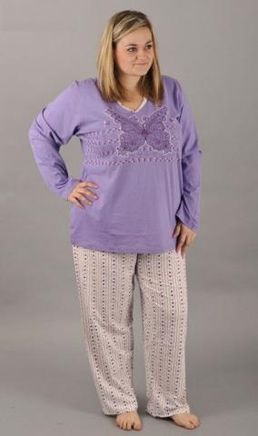 Dámské pyžamo dlouhé Vienetta Secret Obrys motýl