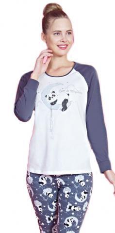 Dámské pyžamo dlouhé Vienetta Secret Panda na měsíci