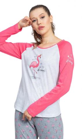 Dámské pyžamo dlouhé Vienetta Secret Plameňák
