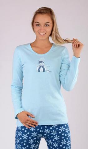 Dámské pyžamo dlouhé Vienetta Secret Sněhulák na horách