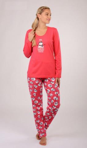 Dámské pyžamo dlouhé Vienetta Secret Sněhulák se šálou