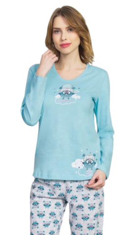 Dámské pyžamo dlouhé Vienetta Secret Sovičky