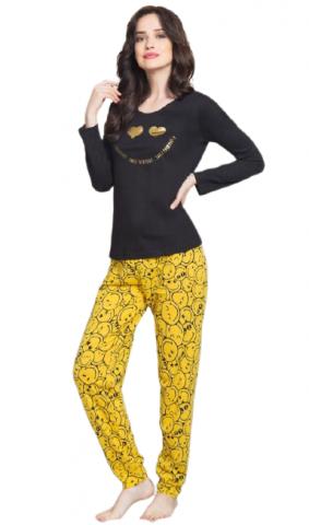 Dámské pyžamo dlouhé Vienetta Secret Úsměv