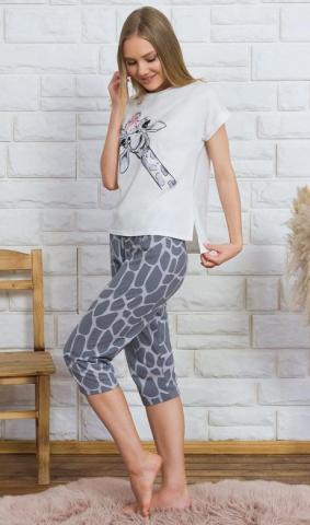 Dámské pyžamo kapri Vienetta Secret Žirafa Lili