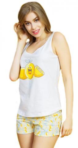 Dámské pyžamo šortky na ramínka Vienetta Secret Citrony