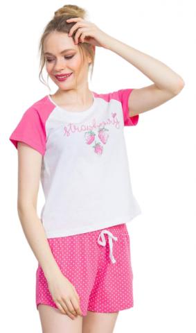 Dámské pyžamo šortky na ramínka Vienetta Secret Strawberry