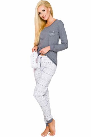 Dámské pyžamo TARO Nora 2124 šedé